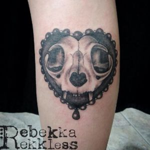 Cat skull by me, Rebekka Rekkless. #cat #skull #heart #rebekkarekkless