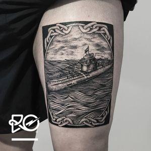 By RO. Robert Pavez • Tumlaren - Gammal Ubåt • #engraving #dotwork #etching #dot #linework #geometric #ro #blackwork #blackworktattoo #blackandgrey #black #tattoo