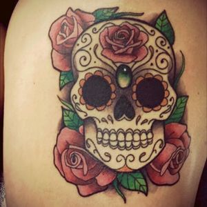 #sugarskull #santamuerte #mexicantattoo #skull #skulltattoo #rose