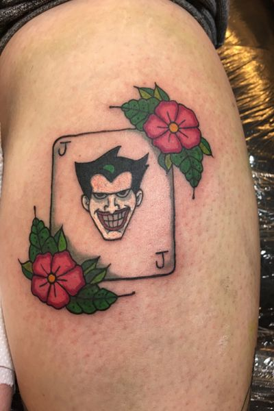 #joker #batman #harleyquinn #colourtattoo #customtattoo #oldschool #ladytattooers