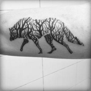 #wolf #newtattoo #tree #forest #minimalist #linework #simple #simplistic #beast #animal #linework