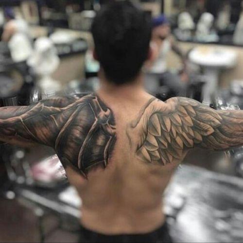 #back #arms #devil #bird #light #dark #wings