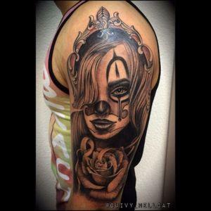 #girlsgangchola #chicanostattoo #chamocano #clown #chicano #chicana #chicanostyle #rosetattoo #blackandgrey #guivy #artforsinners #tattoo #tatouage #geneva #geneve #switzerland