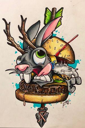 "Completed ""Jacka-burger"" a fun new school piece I designed for a sticker. #tattooartist #tattooart #colortattoo #NewSchoolArtist #newschool #skinhousestudio #coloradotattooartist #eternalink #jackalope #burger #prismacolor #drawing"