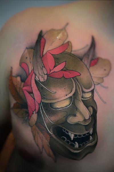 Oni mask #NeoTraditional #Tattoo #oni #Japanese
