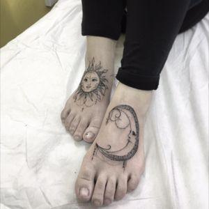 Moon and Sun Originak design and tattoo by Kaiser Sin Since Tattoo Studio Hong Kong #moon #sun #mehndi #mandala #blackwork #blackart #hongkong #TattooGirl