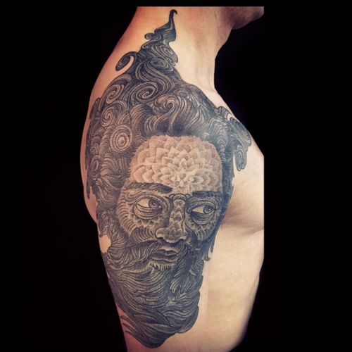 #guywaisman #tattoo #mandalatattoo #blackwork #dotwork