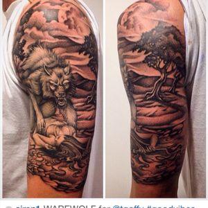 #halfsleeve #tattoo #black #dark #misty #warewolf #wolf #ink