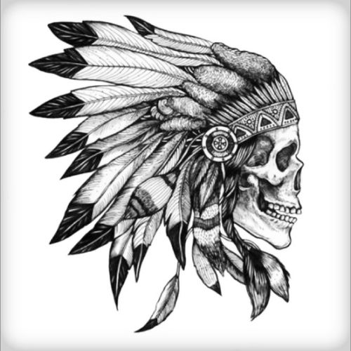 Forearm piece I want! #chief #headdress #indian #nativeamerican #skull #awesome #culture #feather #design #amijames #amazing #epic #awesome #nexttattoo #balckandwhitetattoo #death #Perfection