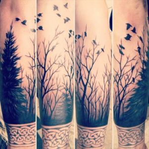 Would love a tattoo like this #forset #crows #nature #tribal