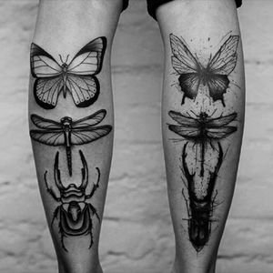 #butterflytattoo #dragonflytattoo #bugs #blackandgrey