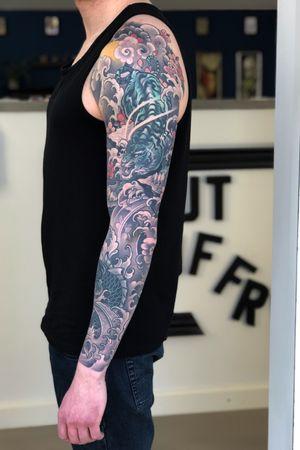 Tiger and koi sleeve, fully healed:):) #irezumi #japanese #tiger #koi #fingerwaves #cherryblossoms #tattoodo #inkjecta #wearesorrymom #killerinktattoo