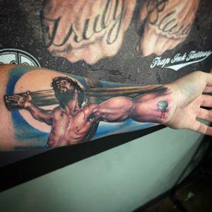 Jesus forearm piece done last week. Done by #keegankeelikoga at #trapinktattoosfl in #sarasota #florida. Using #worldfamousink #jesuschrist #jesus #cross #religioustattoos #tattoos