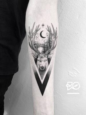 By RO. Robert Pavez • Deer Dreams ➖ Studio Zoi tattoo Stockholm 🇸🇪 • 2018  • #engraving #dotwork #etching #dot #linework #geometric #ro #blackwork #blackworktattoo #blackandgrey #black #tattoo #fineline