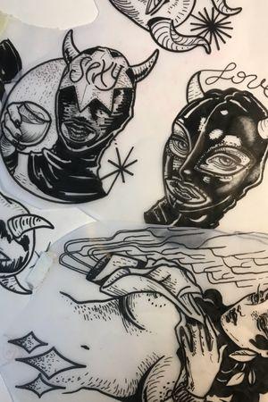 Some raw Sketches available as tattoos #mrg #morg #morgarmeni #latex #feticismo #blackwork #sex