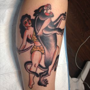 #traditional #traditionaltattoo #pinup #panther #panthertattoo #girlpower