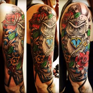 #oldschool #newschool #colors #arms #owl #french #rose #blue #green