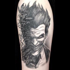 The joker from the arkham game series done by Prizeman at enternal art chelmsford! #joker #black #sick #batman #art #englad #uk #essex