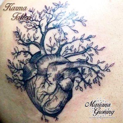 Heart and tree tattoo, blackwork #tattoo #tatuaje #color #mexicocity #marianagroning #tatuadora #karmatattoo #awesome #colortattoo #tatuajes #claveria #ciudaddemexico #cdmx #tattooartist #tattooist #blackwork #heart #hearttattoo