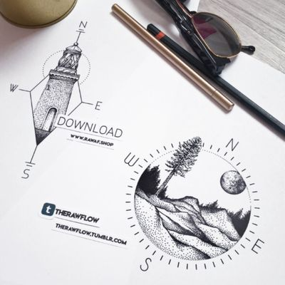 Compass variations with landscape and lighthouse, high resolution files are available at www.rawaf.shop/tattoo Commissions are always welcome! #compass #travel #nature #lighthouse #mountain #wanderlust #dotwork #compasstatto #traveltattoo #naturetattoo #lighthousetattoo #mountaintattoo #wanderlusttattoo #dotworktattoo