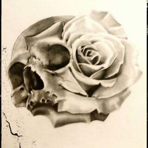 Love this rose slull morph #skull #rose #blackandgrey #morph #coolink #guyswithink