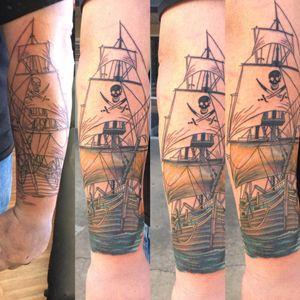#wip #pirateshiptattoo #pirateship #Tattoodo