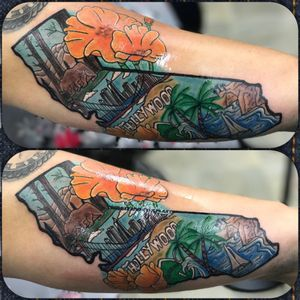 Cool california piece i got to mess around with. #cali #california #californiatattoo #hollywood #norcal #socal