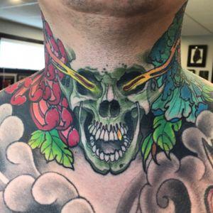 Throat #deadlytattoos #goodguysupply #mithramfg #inkjecta #necktattoo #skulltattoo