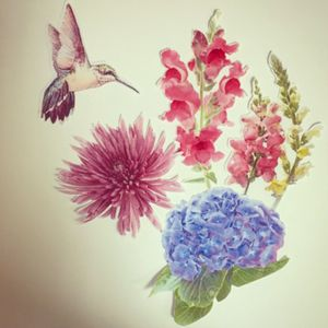 #dreamtattoo  I compiled these images into my dream tattoo. It is in memory of my mother who passed away last month from cancer.  #ilovemymom #formom #hummingbird #hydrangeas #snapdragon #fujimum #memorialtattoo