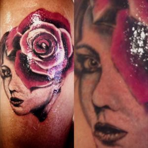 3h of work #tattoo #TattooGirl #portrait #tattooportrait #realistictattoo #realism #rose #face #tattooshop