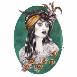 GYPSY TATTOO GIRL #myownwork #drawing #TattooGirl #metellic #realism #breasttattoo #roses #feathers #gypsygirl #gypsytattoo
