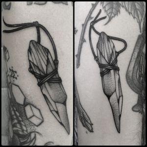 #black #magic #crystals #tattoo #blackwork #totemica #ontheroad