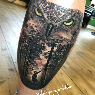 Custom leg piece #owl #stag #woods #tattooland