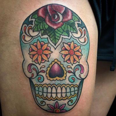 By @daredevilmichelle #sugarskull #sugarskulltattoo #sugarskulls #mexicansugarskull #colortattoo