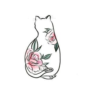 my #originaldesign #cattattoo #kitten #flower #floral