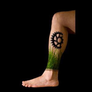 Mock-up of my next tattoo... The grass is grown, now the MTB tire track and blade need to be done. #SportsTattoo #mountainbiking #nature #color by #ChristinaBoysen #CristysBodyart