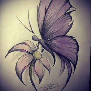 Butterflysketch from yesterday #butterfly #flower #tattoo #sketch #color #mobileinkstitution #hannover #follow4follow