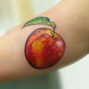 Apple tattoo #botanical #botanicaltattoo #floral #flower #flowertattoo #leaves #aubreymennella #illustrative #IllustrativeTattoo #apple