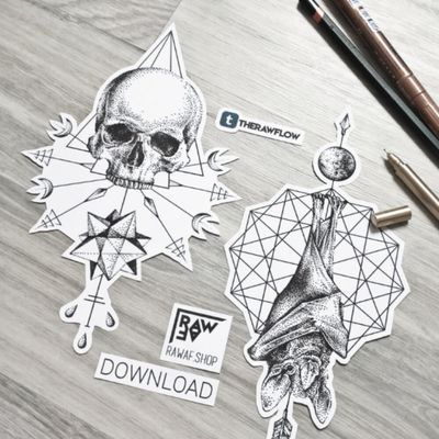 Skull and bat design available in the shop, download in a minute: www.rawaf.shop For commissions, don't hesitate to fill in our commissions form. #skull #skulltattoo #dotwork #dotworktattoo #bat #battattoo