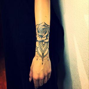 Rose and mandala tattoo by Erik Riolobos #Rose #Mandala