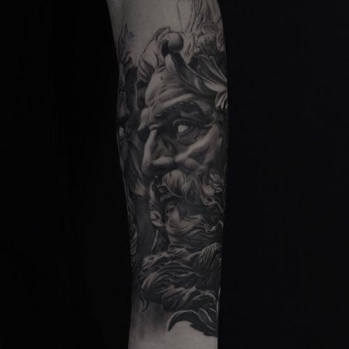 In progress... #Poseidon #neptune #greek #blackandgrey #denmark