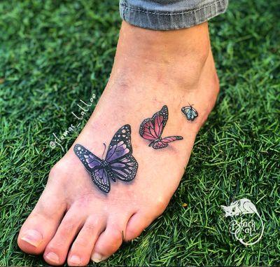 • Butterflies • #butterfly #butterflytattoo #foottattoo #3d #3dtattoo #sorrymom #foot