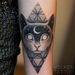 #Volken #cat #geometric #moon #love #grunge