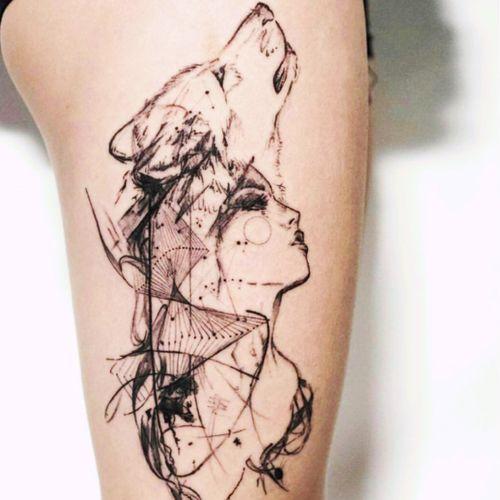 #woman#sketch#wolf