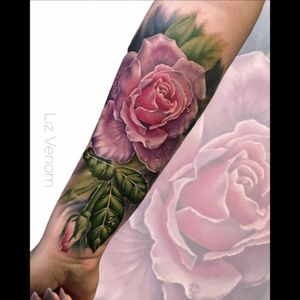 #pink #rose tattoo, #lizvenom #rose #roses #watercolour #watercolor #painterly #nature #botanical #realism #female #floral #flowers #girly #feminine #ladytattooers #vintage #classical #color #colour #best #beautiful #flattering #amazing