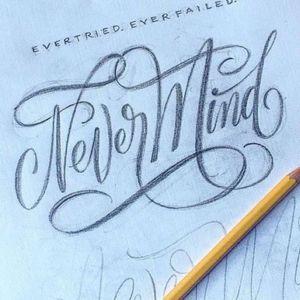 Nevermind lettering tattoo, tribute to kurt cobain