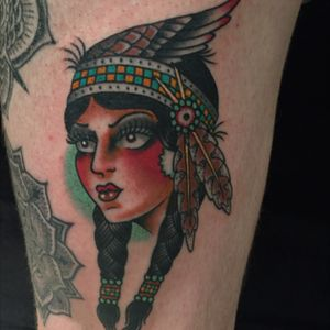 By jesse strother at 3 anchors (akron) #ohioink #nativeamerican #nativeamericanwoman #traditional #ohio