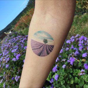 Lavender fields tattoo artist: @evakrbdk #evakrbdk #lavender #lavenderfields #landscape #tiny #tinytattoo