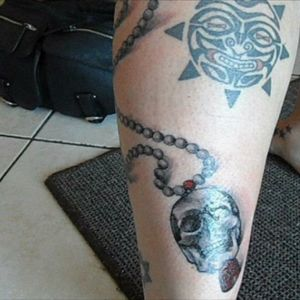 Skull connected to buddha beads