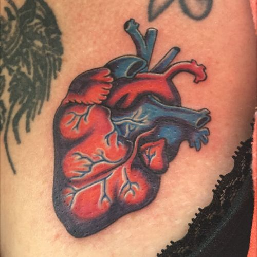 Anatomical heart done on a sweet lady ❤️ #heart #anatomicalheart #anatomicalhearttattoo #customtattoo #ladytattooer #ladytattooers #fkirons #spektrahalo #coloradotattoo #coloradotattooers #coloradotattooartist
